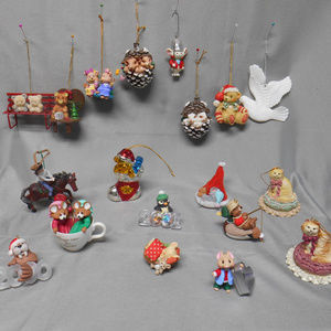 Lot of 19 animal themed Christmas tree ornaments